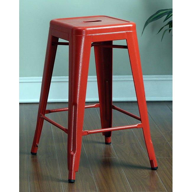 Red 24 Inch Metal Bar Stool Set Of 2 Coaster Furniture Furniture