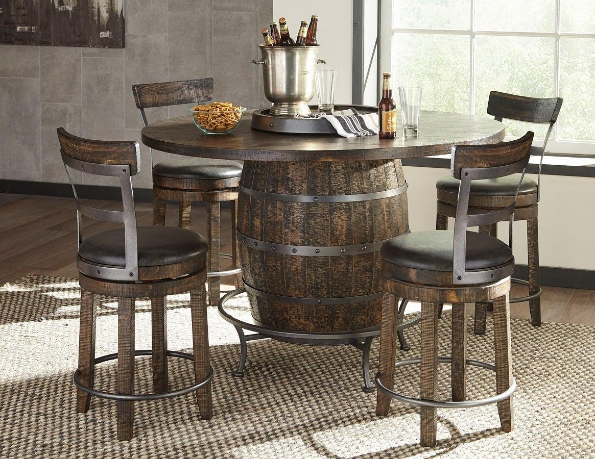 Metroflex Round Wine Barrel Pub Table Set W 24 Inch Barstools