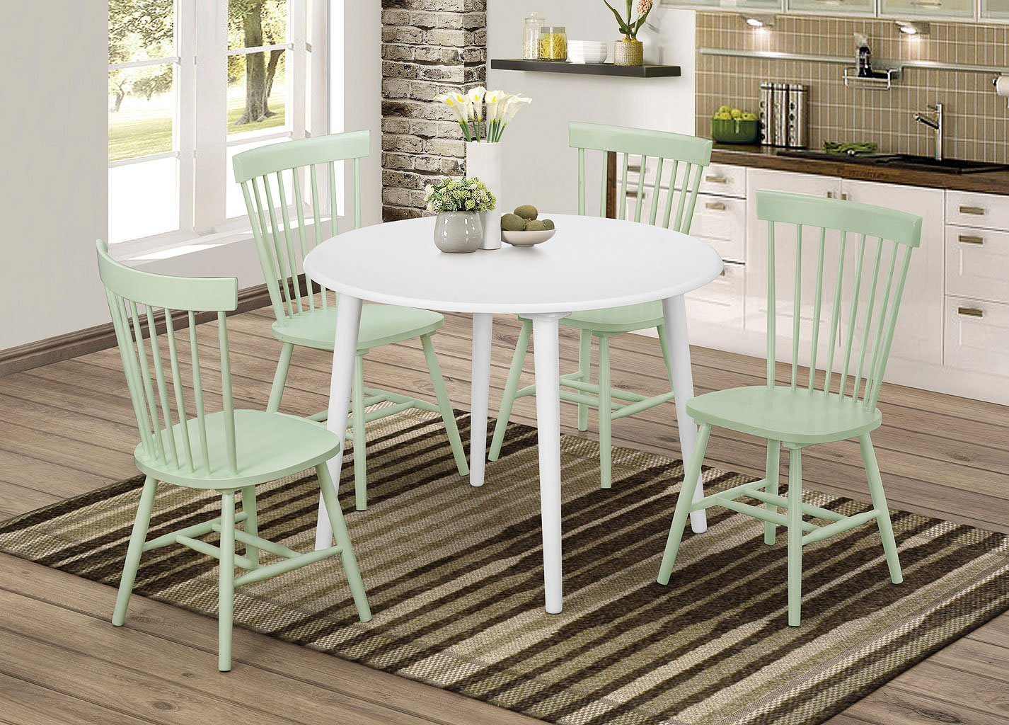 Emmett Round Dining Room Set W/ Mint Green Chairs Coaster ...
