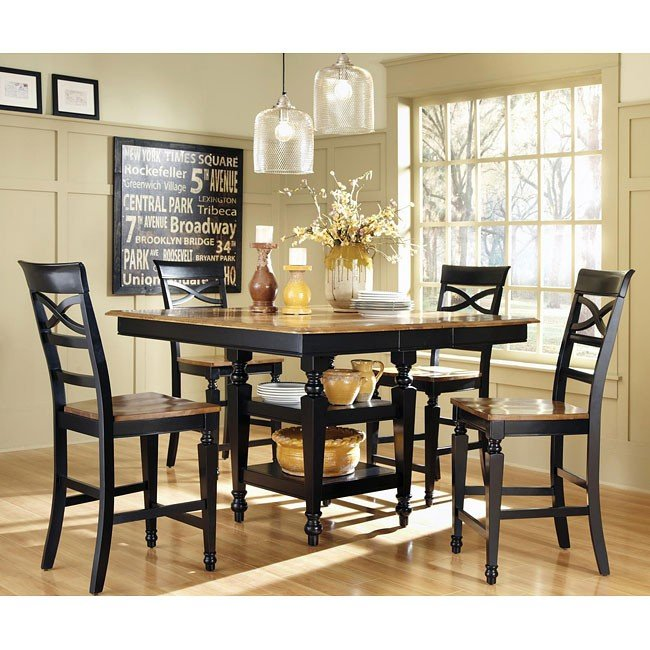 Ashley Counter Height Dining Set Black Oak Coaster Furniture Cart