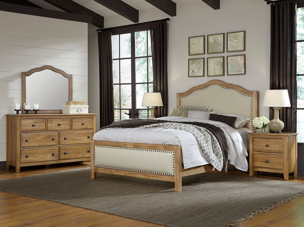 artisan choices upholstered bedroom set natural oak