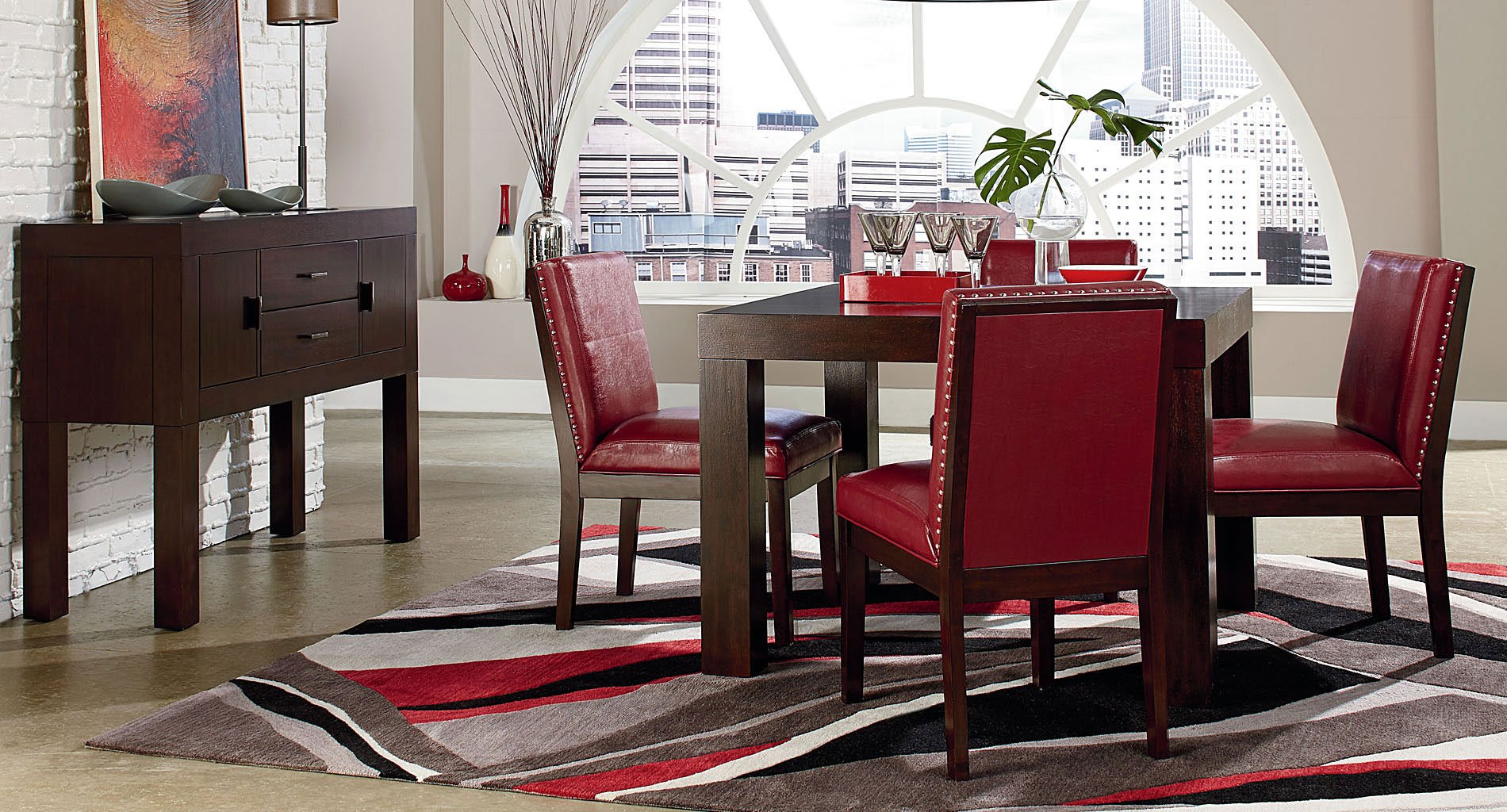 Couture Elegance Dining Room Set W Red Chairs Standard