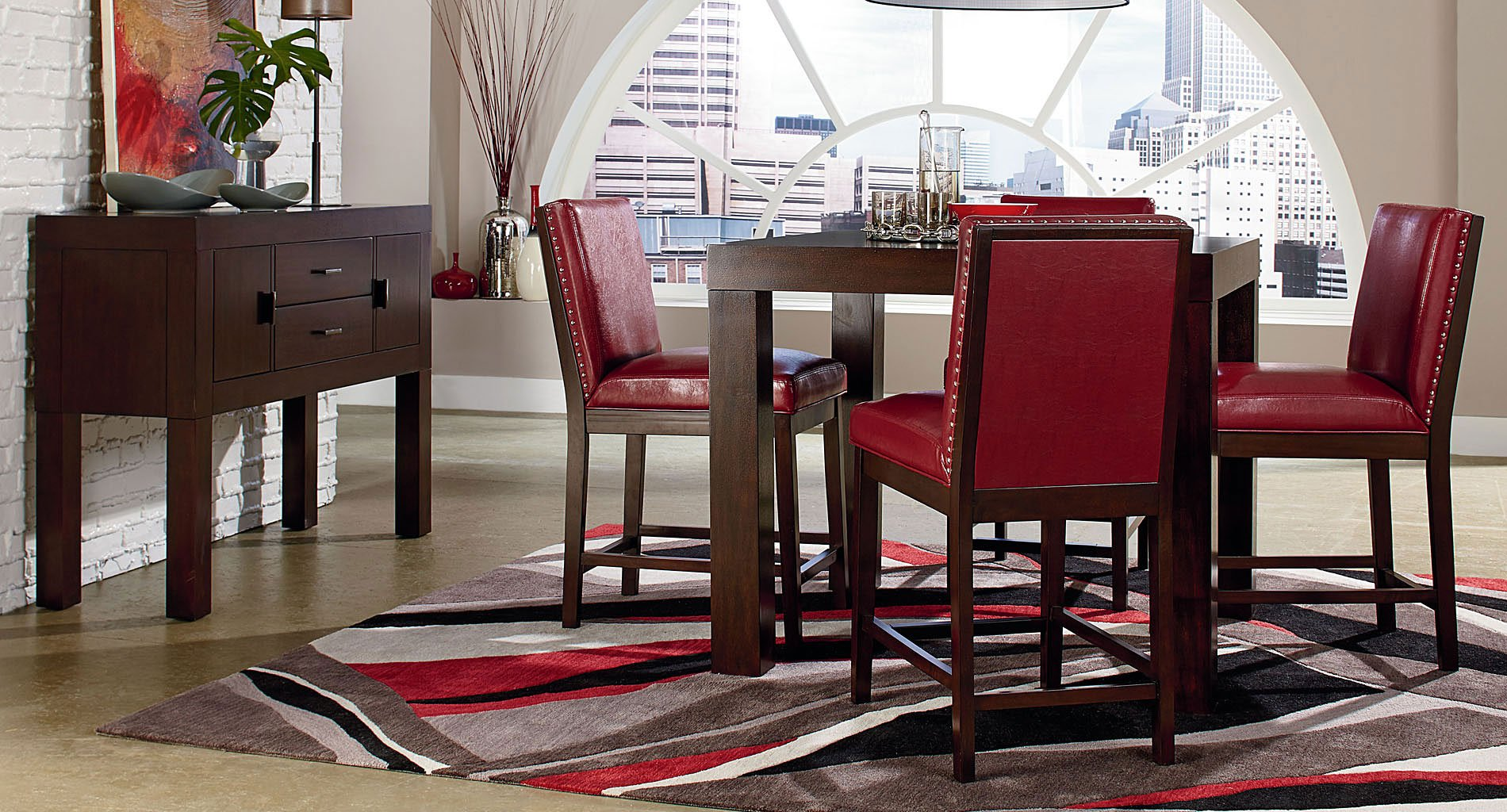 couture elegance counter dining room set w red chairs - Red Dining Room Set
