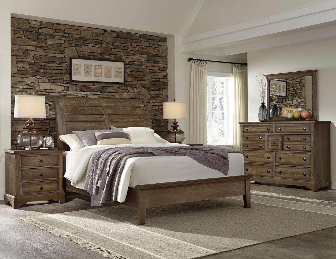 Artisan Choices Sleigh Low Profile Bedroom Set Dark Oak