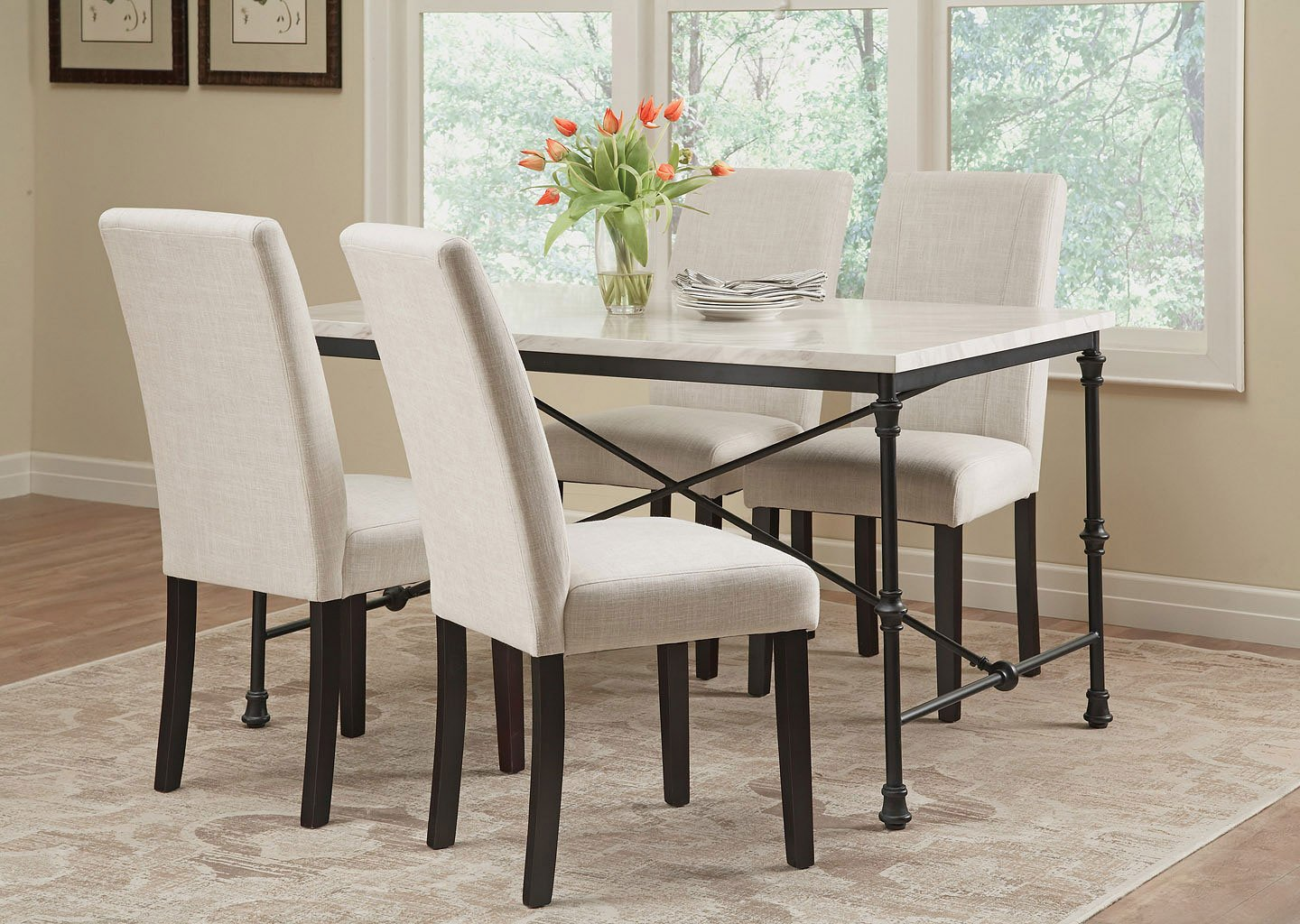 Nagel Dining Room Set W/ Commercial Grade Ivory Chairs