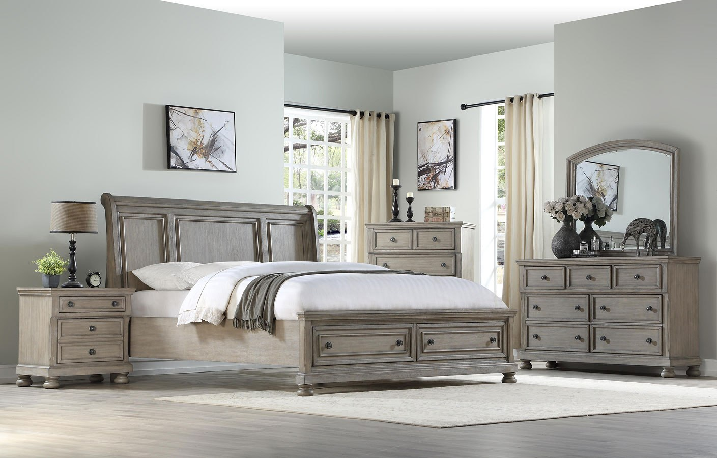 Ashcott Sleigh Storage Bedroom Set