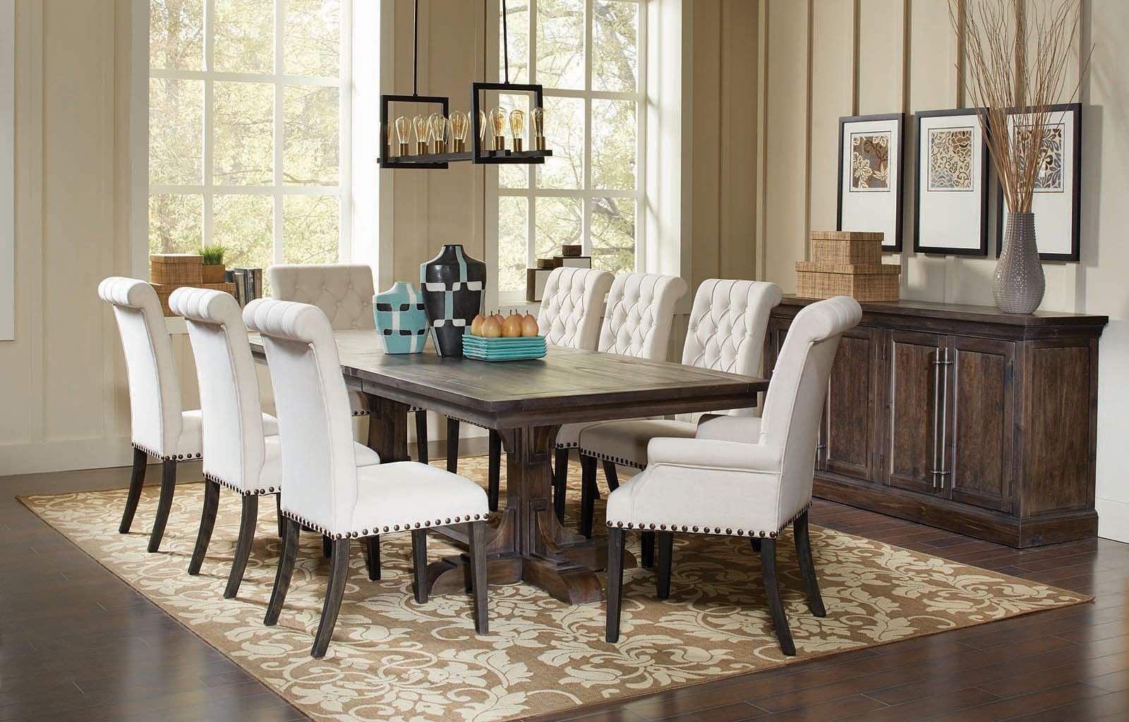 harden dining room furniture | Weber Dining Room Set W/ Cream Chairs Coaster Furniture ...