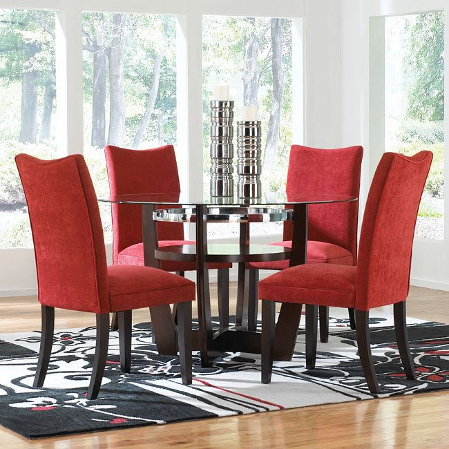 Apollo Dining Room Set W Red Chairs