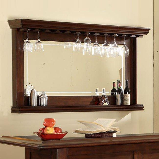 Distressed Walnut Bar Mirror