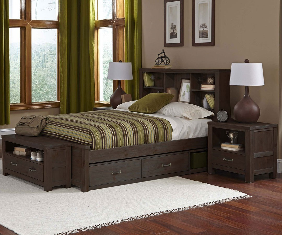 Highlands youth bookcase bedroom set w storage espresso - Youth bedroom furniture with storage ...