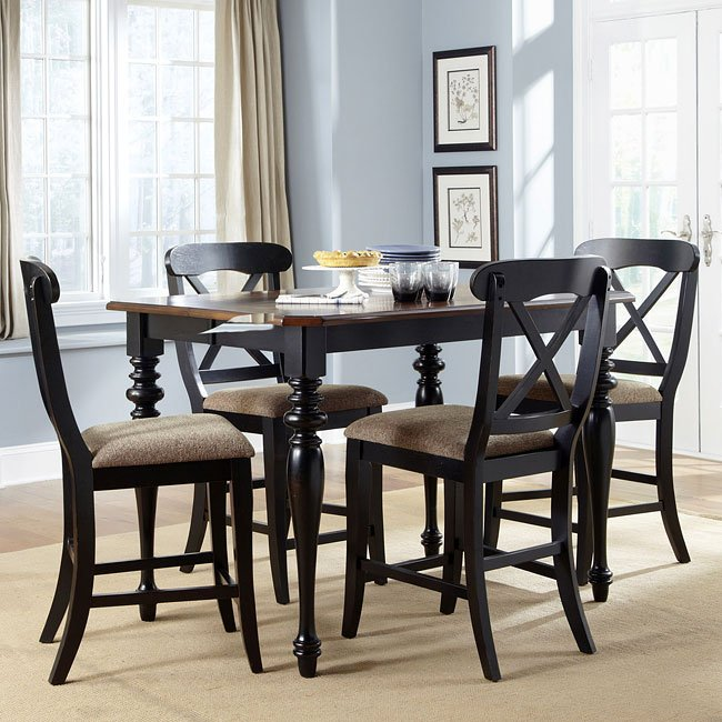 Abbey Court Counter Height Dinette W/ X Back Chairs