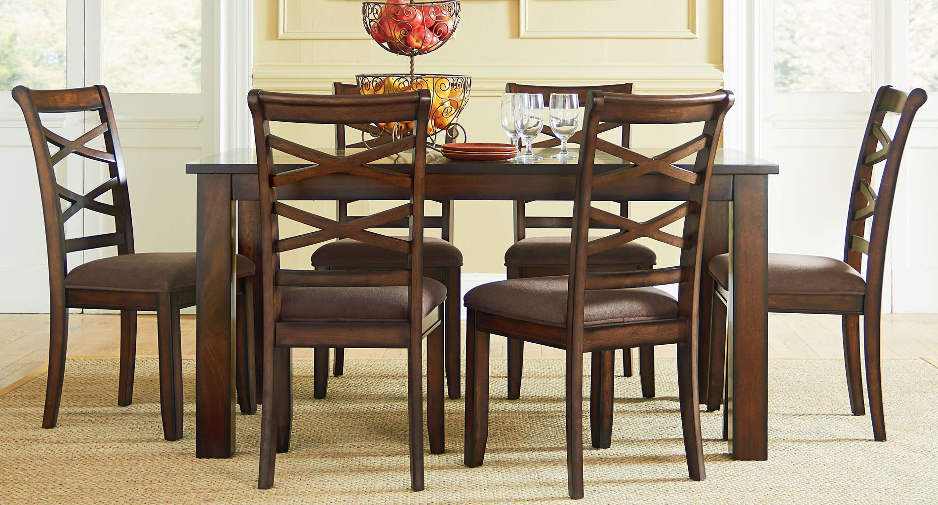 Redondo 7-Piece Dining Room Set (Cherry) Standard Furniture ...
