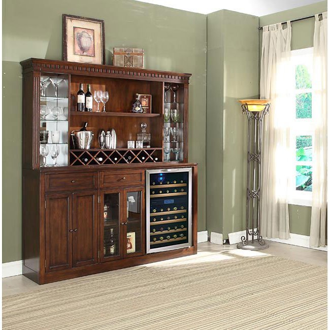 Manchester Back Bar w/ Hutch (Distressed Walnut)