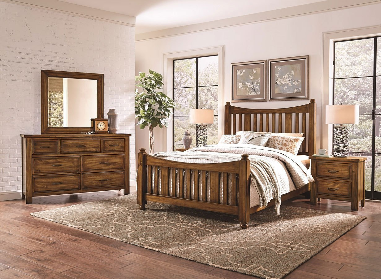 Maple Road Slat Poster Bedroom Set Antique Amish Vaughan