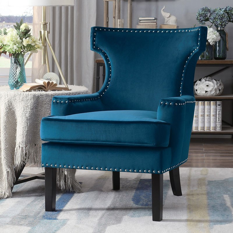 Lapis Accent Chair Blue Homelegance Furniture Cart