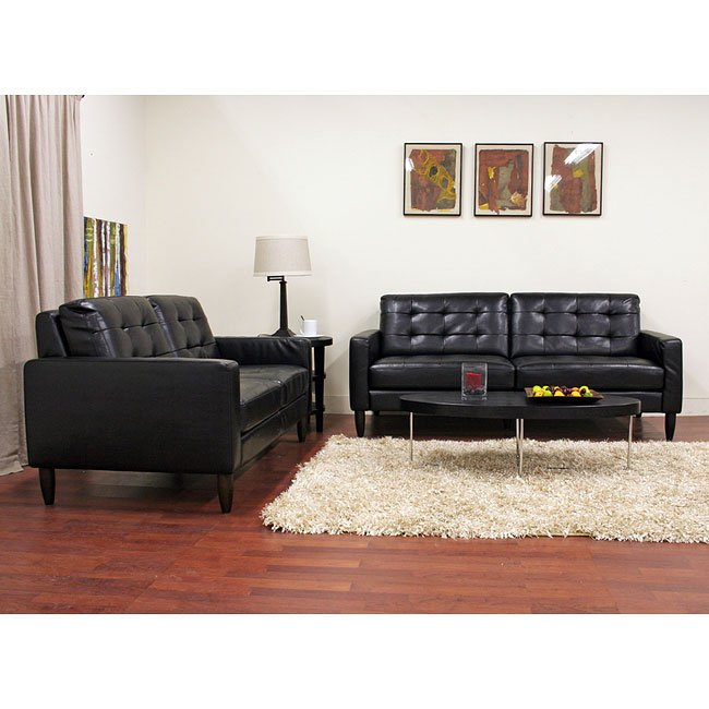 Caledonia Leather Sofa and Loveseat Set (Black)