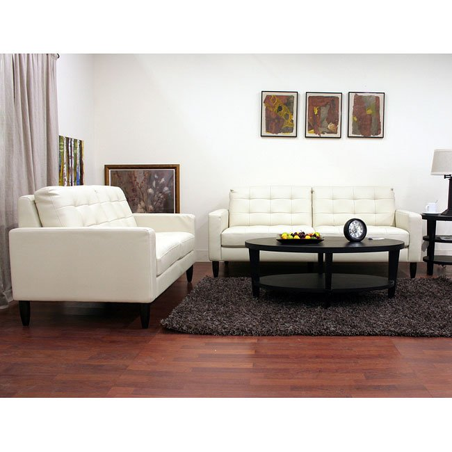 Caledonia Leather Sofa and Loveseat Set (Cream)