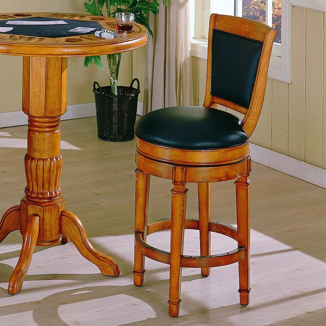 Monticello 30 inch Leather Stool (Burnished Oak)