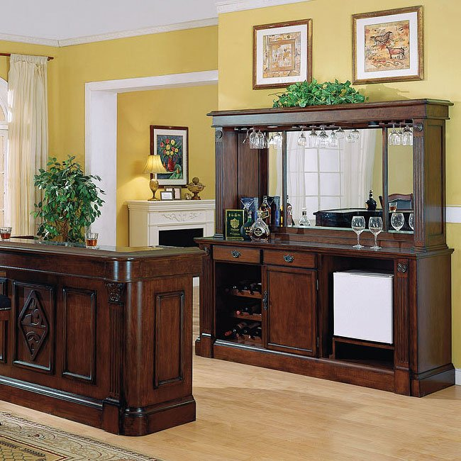 Monticello Back Bar w/ Hutch (Distressed Walnut)
