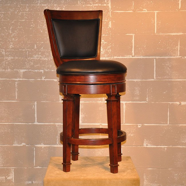 Monticello 30 inch Leather Stool (Distressed Walnut)