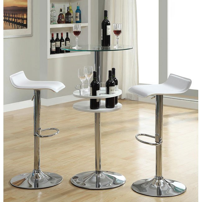 White Bar Table Set W Wine Storage Coaster Furniture 1