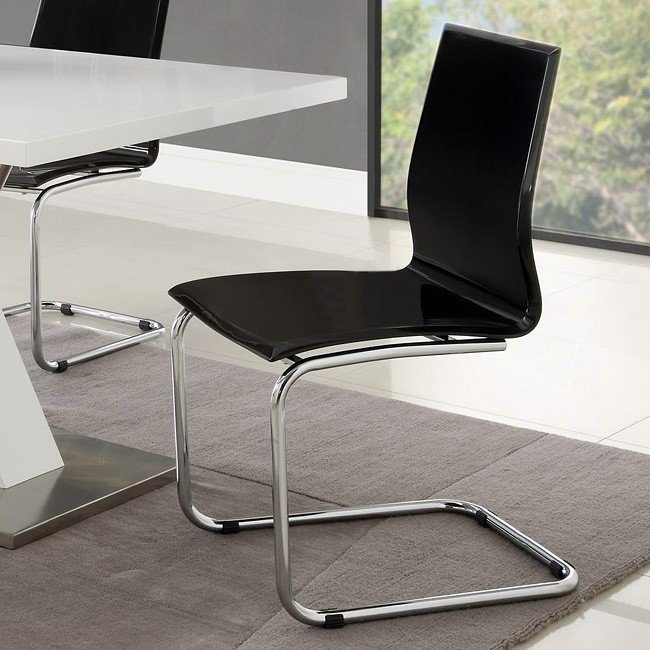 Modern Dining Room Set W/ Black Chairs Coaster Furniture