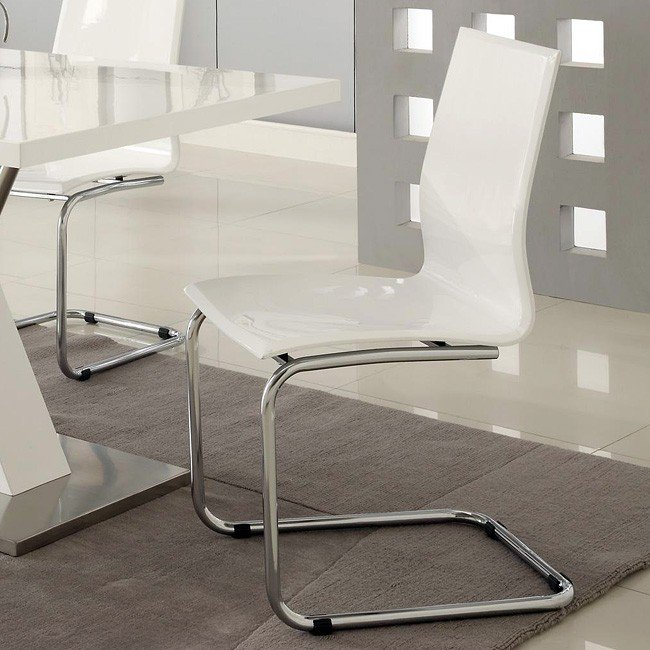 Off White Modern Dining Room Set: Modern Dining Room Set W/ White Chairs Coaster Furniture