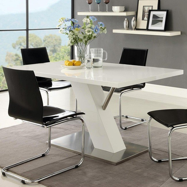 Modern White Dining Room Sets: Modern Dining Room Set W/ White Chairs Coaster Furniture
