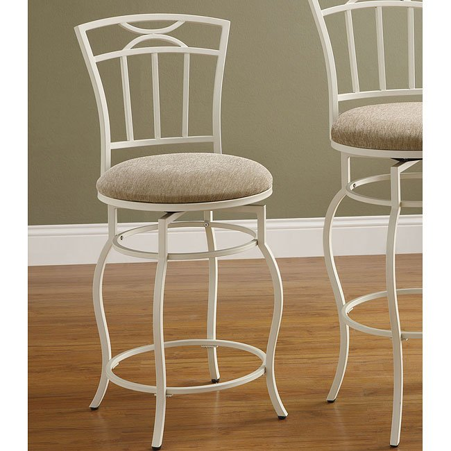 White Metal 24 Inch Barstool (Set of 2)