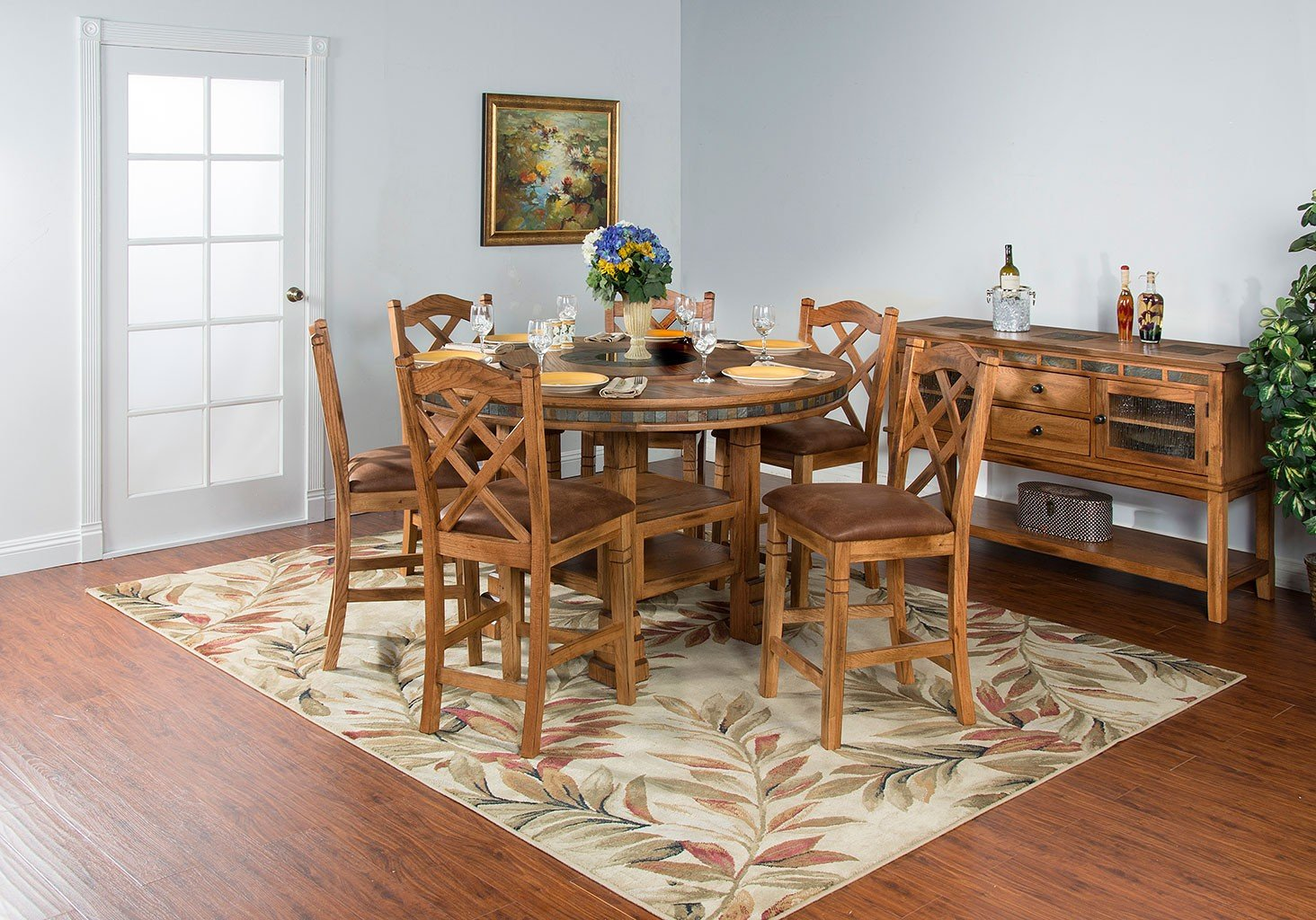 Sedona Adjustable Height Round Dining Set W Counter