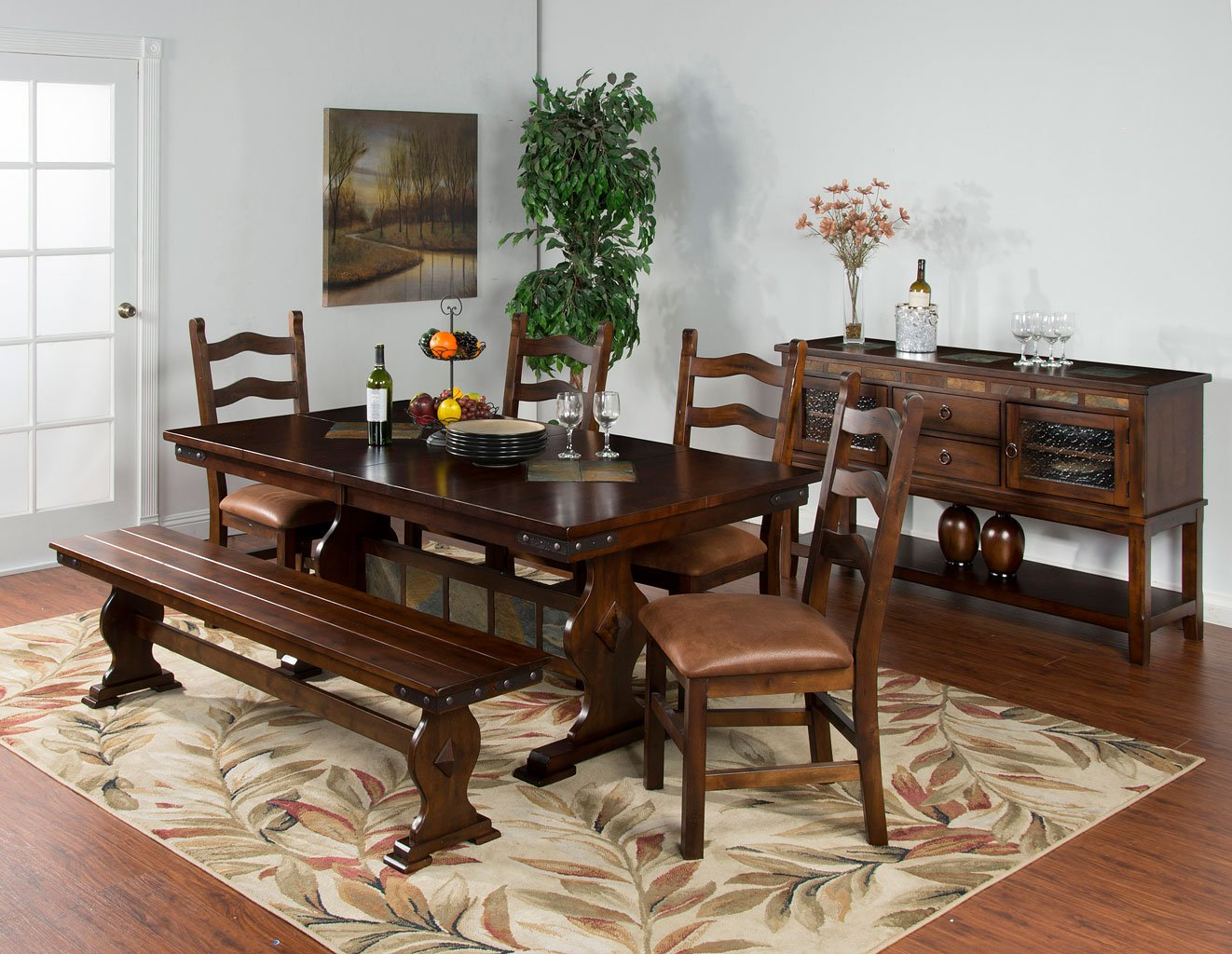 Santa Fe Rectangular Dining Set W/ Ladderback Chairs