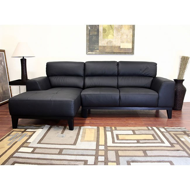 Jocelyn Leather Sofa Sectional (Black)