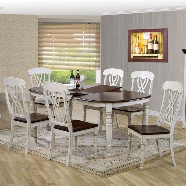 White And Walnut Dining Room Set