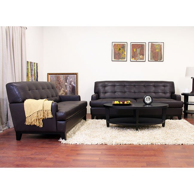 Adair Leather Sofa and Loveseat Set (Brown)