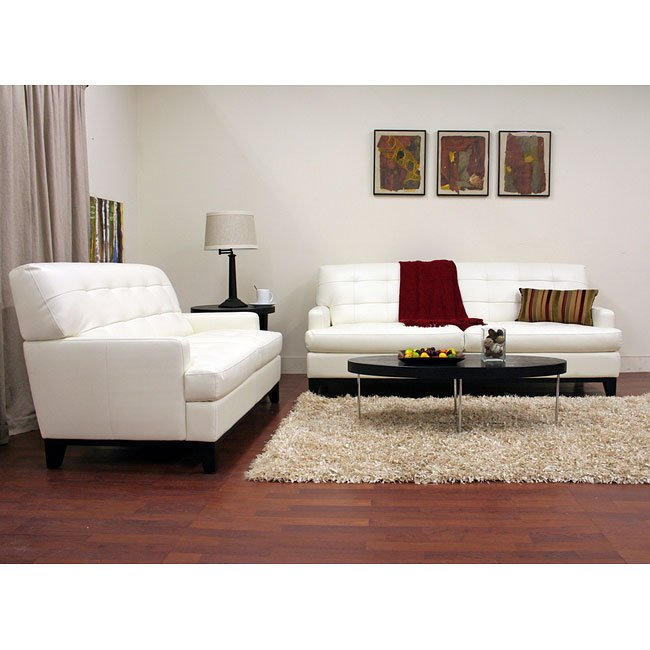 Adair Leather Sofa and Loveseat Set (White)