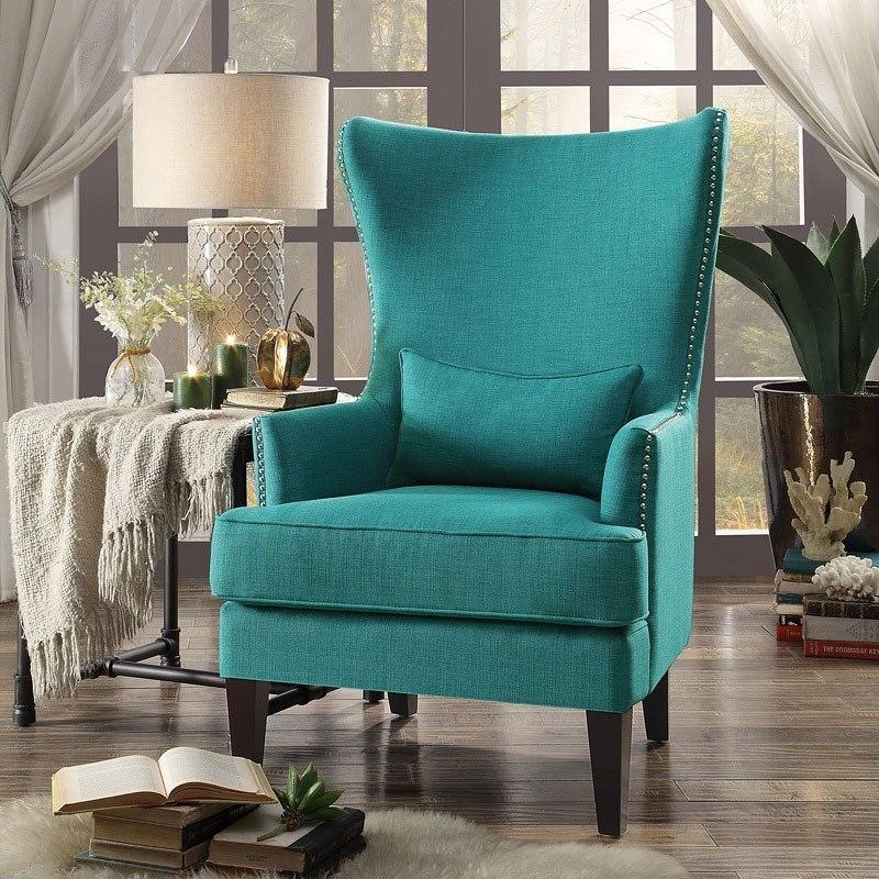 Avina Accent Chair W Kidney Pillow Teal Homelegance
