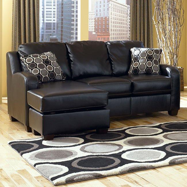 Devin DuraBlend - Black Sofa Chaise Queen Sleeper