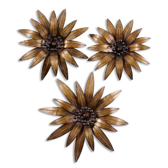 Golden Gazanias Metal Wall Art (Set of 3)