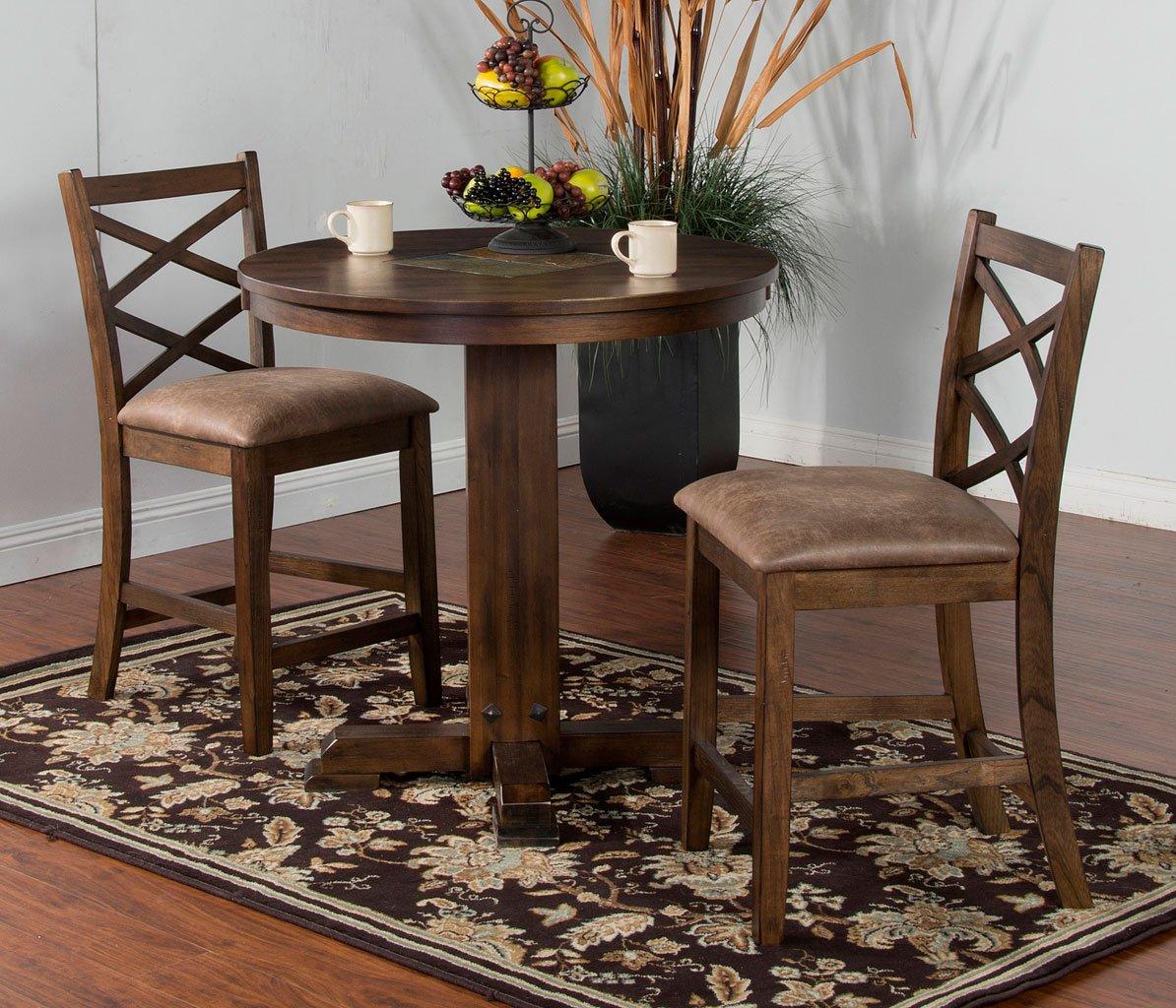 Savannah Adjustable Height Pub Table Set Sunny Designs Furniture Cart - Adjustable height cafe table