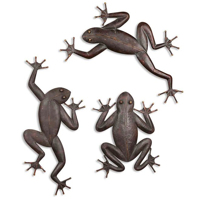Three Frogs Metal Wall Art (Set of 3)