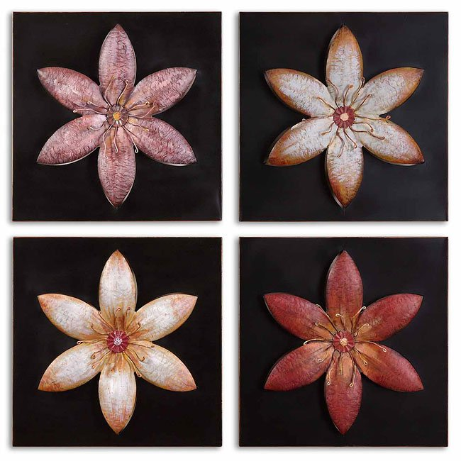 Metal Flowers Metal Wall Art (Set of 4)