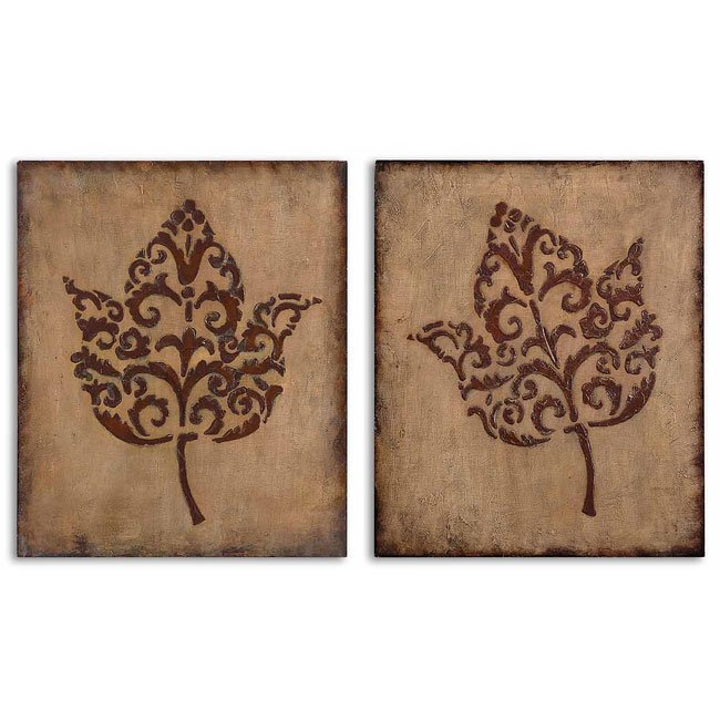Decorative Leaves Metal Wall Art (Set of 2)