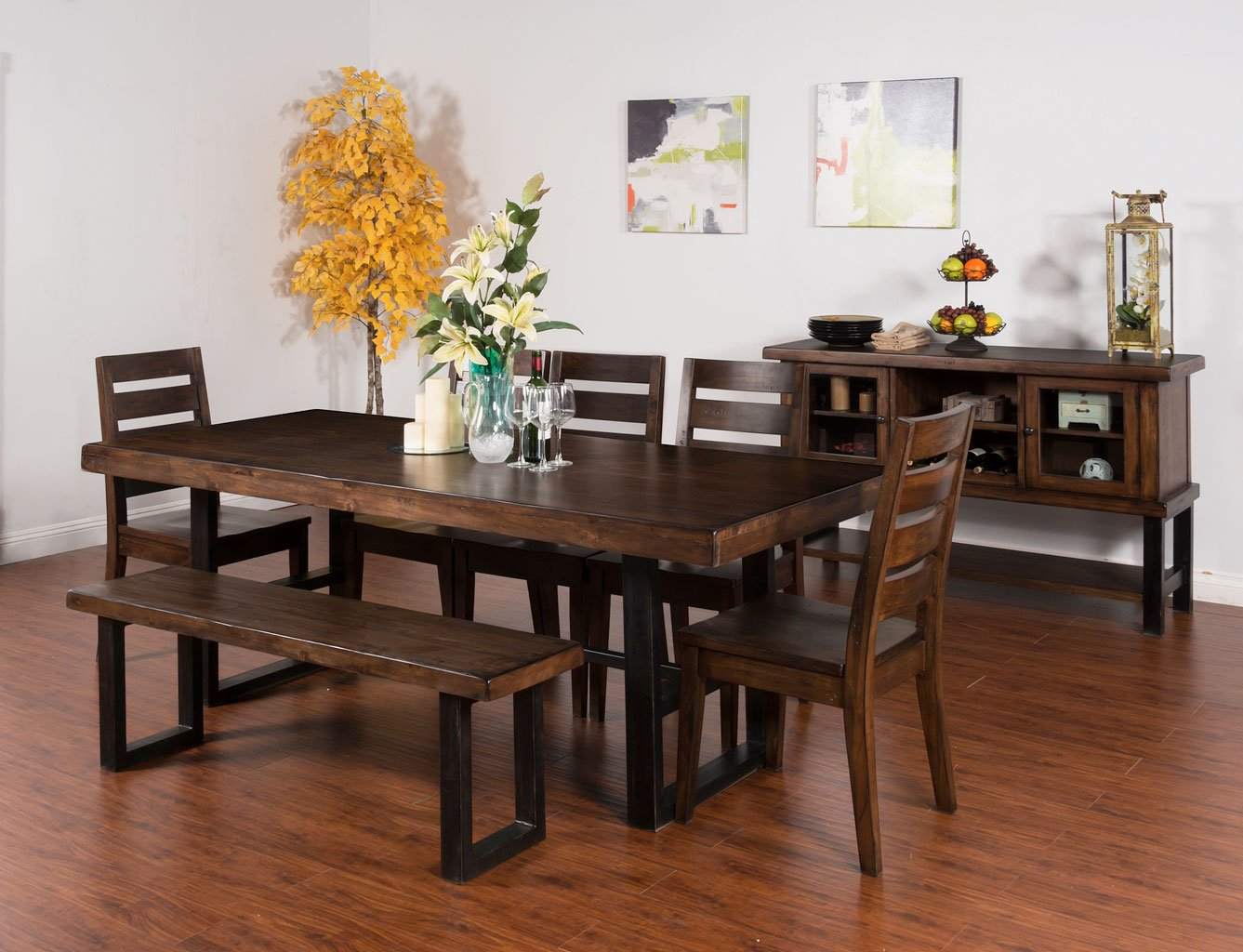 Weathered Pine Dining Room Set W Bench Sunny Designs