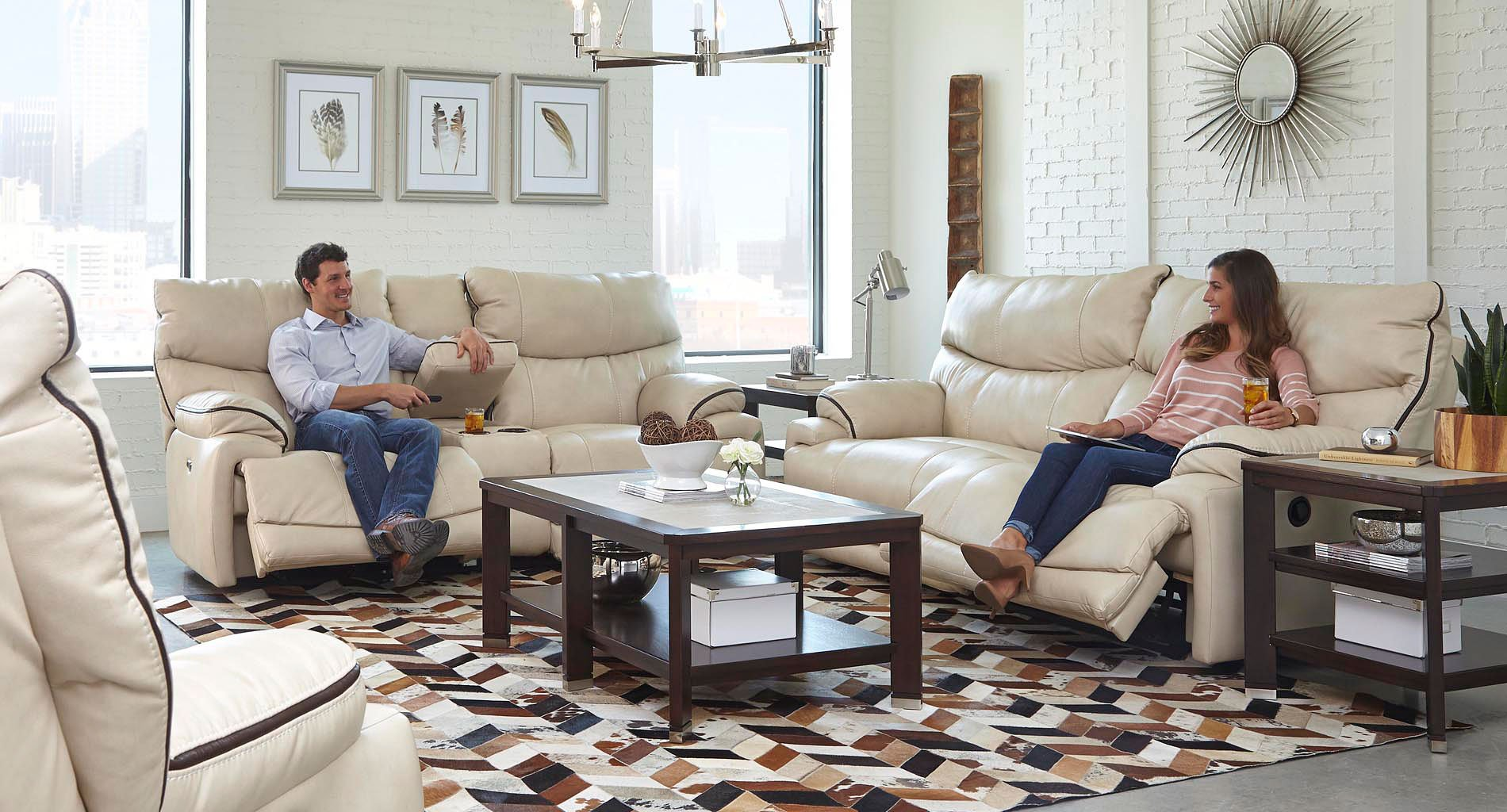 Larkin Power Lay Flat Reclining Living Room Set (Buff) Catnapper ...