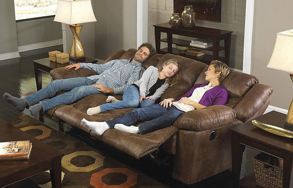 Merveilleux Valiant Triple Reclining Sofa W/ Drop Down Table (Elk)