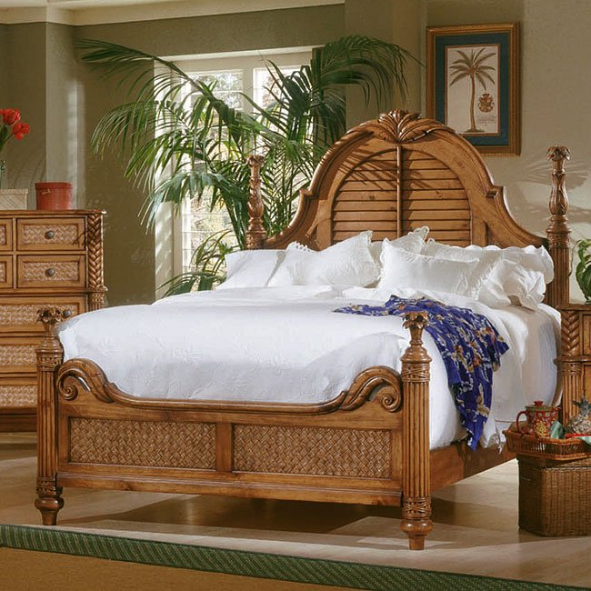 Palm Court Poster Bed Island Pine Queen By Progressive Furniture