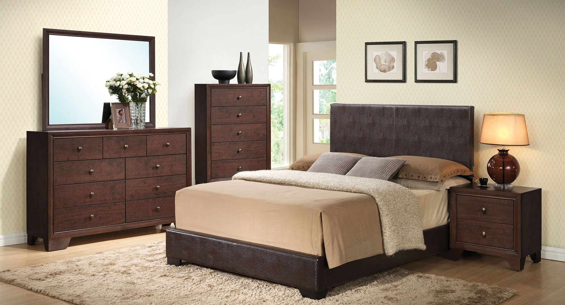 madison bedroom set w ireland brown upholstered bed acme furniture furniture cart