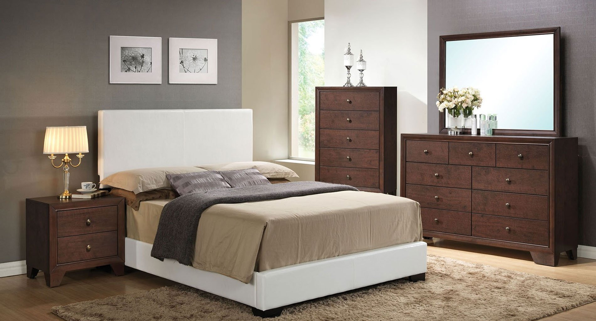 madison bedroom set w ireland white upholstered bed acme furniture furniture cart