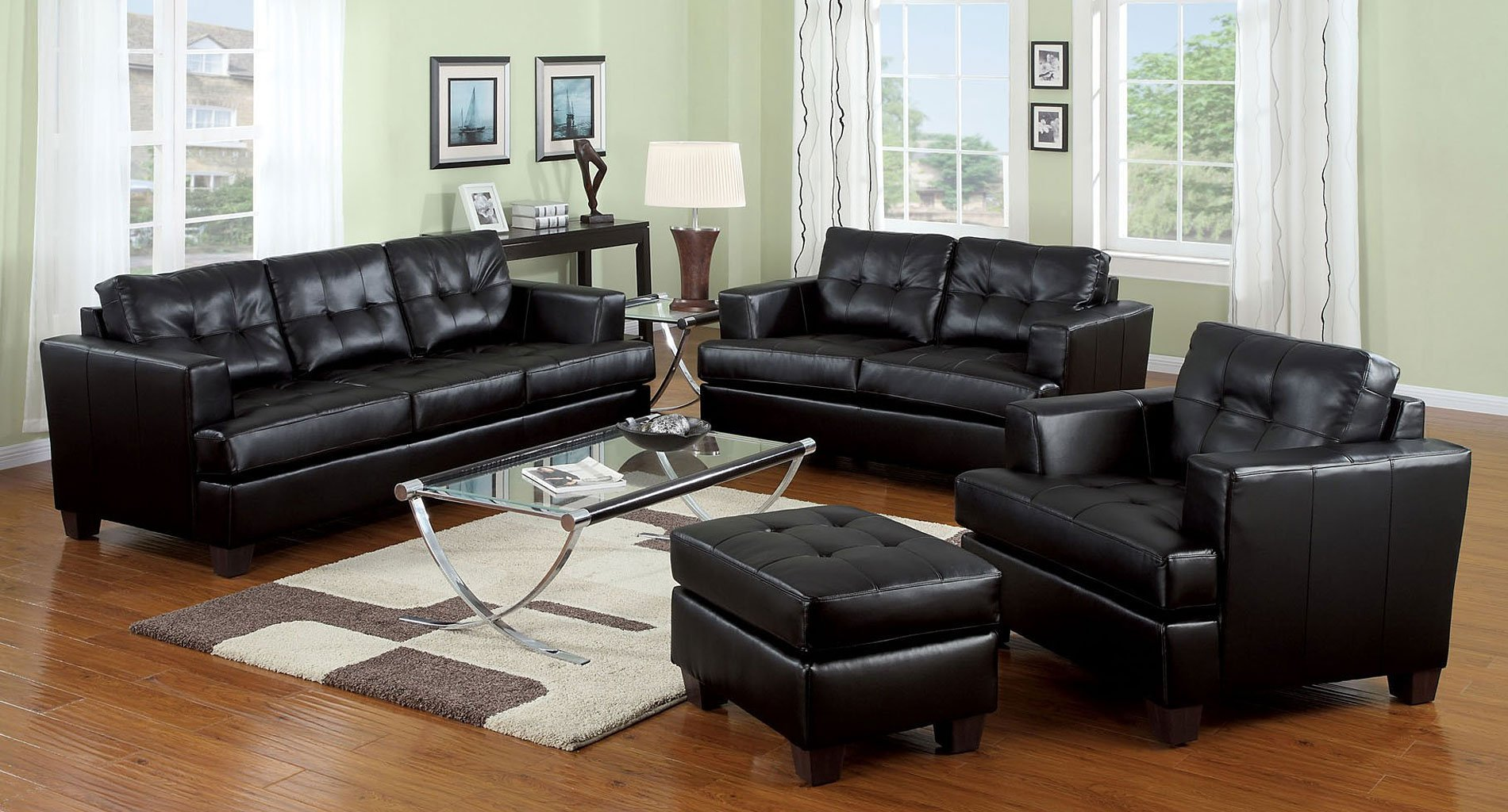 Platinum Living Room Set Black Acme Furniture