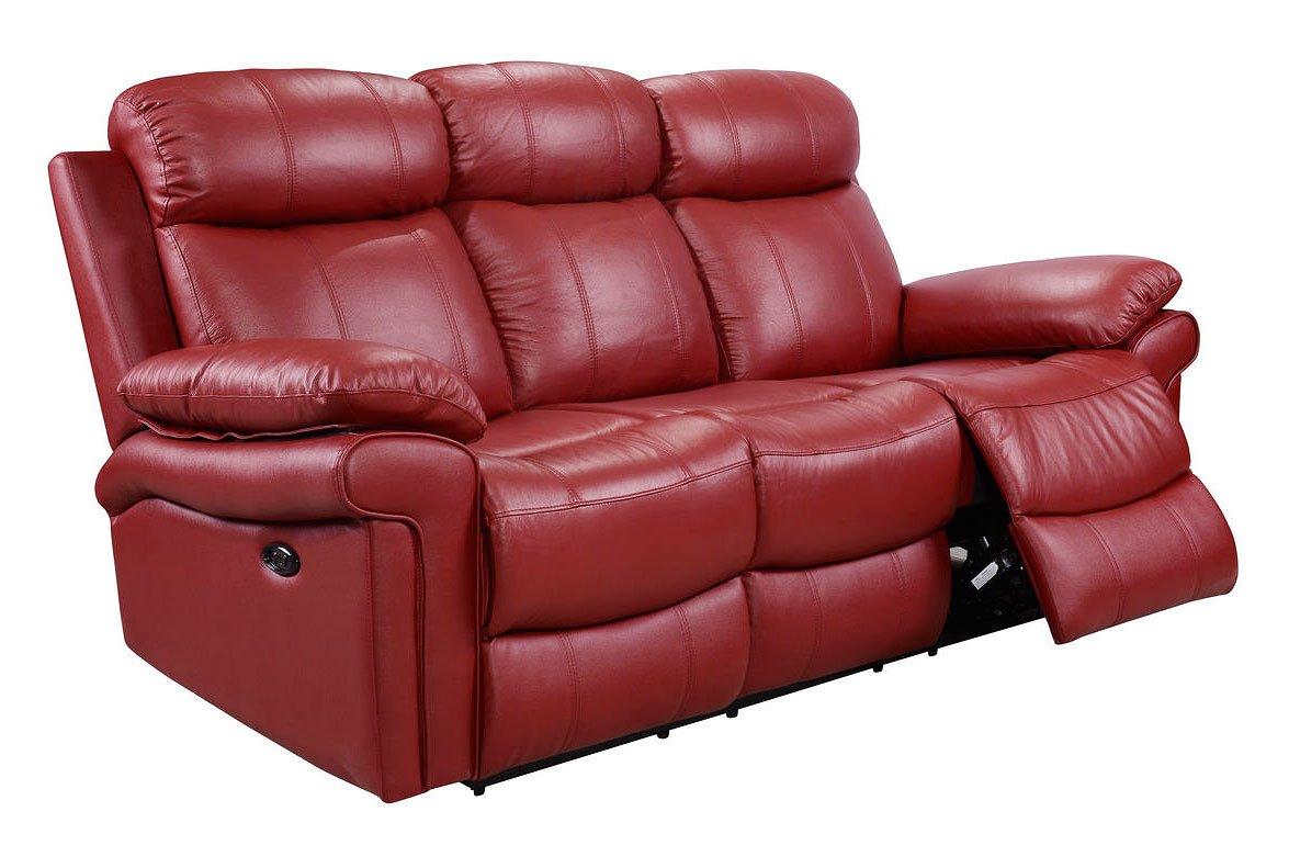 Joplin Power Reclining Sofa Red Leather Italia